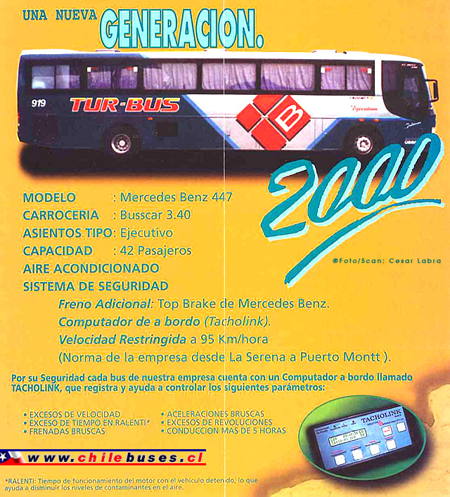 Folleto Tur Bus  /  Busscar El Buss 340 - M. Benz