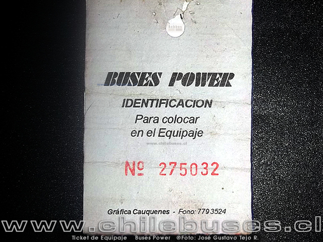 Ticket de Equipaje Buses Power