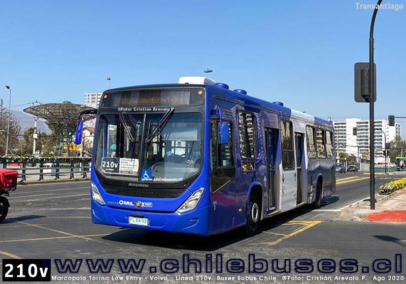 Marcopolo Torino Low Entry - Volvo  |  Línea 210v  Buses Subus Chile
